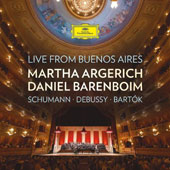 Piano Duos II - Debussy: arr. of Schumann's Six Studies in Canon Form; En blanc et noir; Bartók: Sonata for 2 Pianos & Percussion / Martha Argerich & Daniel Barenboim, pianos (live from Buenos Aires)