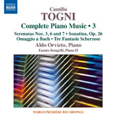 Camillo Togni: Complete Piano Music, Vol. 3