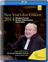New Year's Eve Concert 2014 (plus documentary) - Mozart: Piano Concerto No. 23; Dvorak: Slavonic Dances (2); Kodály: Hary János, suite; Brahms, Chopin Rameau / Menahem Pressler, piano; Berlin PO, Rattle (live 12/31/14) [Blu-ray]