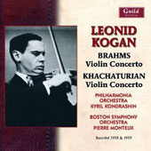 Leonid Kogan plays Brahms & Khachaturian Violin Concertos / Leonid Kogan, violin; Phiharmonia Orchestra; Boston SO