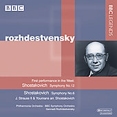Shostakovich: Symphonies no 12 & 6;  Strauss Jr. / Rozhdestvensky, BBC SO, et al