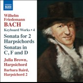 W.F. Bach: Harpsichord Works, Vol. 4 - Sonata for 2 harpsichords; Sonatas (3) for harpsichord / Julia Brown & Barbara Baird, harpsichords