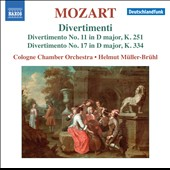 Mozart: Divertimenti Nos. 11, K251 & 17, K334 / Cologne CO, Muller-Bruhl