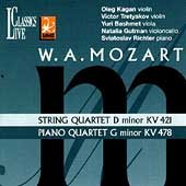 Mozart: String Quartet K 421, Piano Quartet K 478