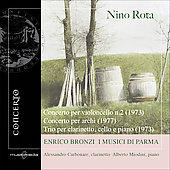 Rota: Concerto for Cello no 2, Concerto for Strings, Clarinet Trio / Bronzi, Carbonare, Miodini, et al