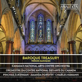 Baroque Treasury - Handel: Sinfonia; Bach: Concerto for Obobe & Violin, BWV 1060; Orchestral Suite No. 3; Tartini: Pastorale; Vivaldi: Concerto for Violin & Cello, RV 547 / Pinchas Zukerman, violin; Amanda Forsyth, cello