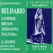 Donizetti: Belisario, etc / Masini, Zampieri, Bruson, et al