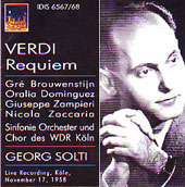 Verdi: Requiem Mass / Solti, Brouwenstijn, Dominguez, Zampieri, Zaccaria, et al