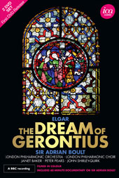 Elgar: The Dream of Gerontius (Bonus: 6 minute documentary on Sir Adrian Boult) / Janet Baker, Peter Pears, John Shirley-Quirk. London PO & Chorus, Adrian Boult (live, Canterbury Cathedral, 1968) [2 DVD]