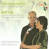 Shostakovich, Britten: Sonatas for Cello and Piano / Georgian, Young