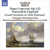 Ries: Piano Concertos Vol 3 / Hinterhuber, Grodd, Royal Liverpool PO