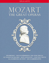 Mozart: The Great Operas - Idomeneo (Salzburg); Die Entführung aus dem Serail (DNO); Marriage of Figaro (Paris Opera); Don Giovanni (Teatro Real); Cosi fan tutte (Glyndebourne); Clemenza di Tito (Paris Opera); Magic Flute (La Scala) [14 DVD]