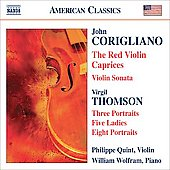 American Classics - Corigliano: The Red Violin Caprices, etc;  Thomson: Three Portraits, etc / Quint, Wolfram