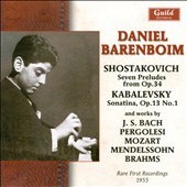 Daniel Barenboim: Rare First Recordings - works by Bach, Pergolesi, Mozart, Mendelssohn, Brahms & Shostakovich / Daniel Barenboim, piano