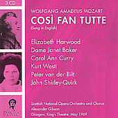 Mozart: Cos&igrave; fan tutte, etc;  Brahms / Gibson, Pritchard
