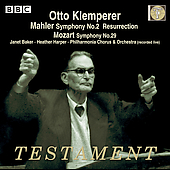 Mahler: Symphony no 2;  Mozart / Klemperer, Baker, et al