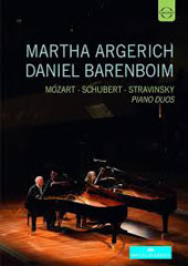 Piano Duos - Mozart: Sonata for 2 Pianos, K.448; Schubert: Variations on an Original Theme, D.813; Stravinsky: The Rite of Spring / Martha Argerich, Daniel Barenboim, pianos (live, 2014) [DVD]