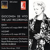 Gioconda de Vito - The Last Recordings - Bach, Mozart: Violin Concertos