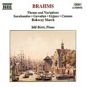 Brahms: Theme and Variations, Sarabandes, etc / Biret