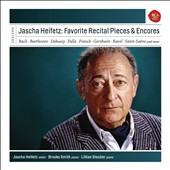 Jascha Heifetz: Favourite Recital Pieces & Encores - Violin Sonatas by Ferguson, Khachaturian, Saint-Saens, Beethoven, Franck, R. Strauss; works by Gershwin, Schubert, Debussy, Ravel, Poulenc, Ibert, Mozart et al. / Brooks Smith, piano