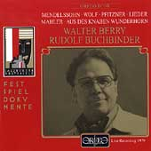 Mendelssohn, Wolf, Pfitzner, Mahler: Lieder / Walter Berry