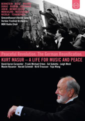 Kurt Masur, A life for music and peace - Music of Bernstein, Bizet, Brahms, Dukas, Dvorak, Gershwin, Jobim, Mendelssohn, Moniuszko, Mussorgsky (Concerts from the Gewandhaus and Verbier Festivals, plus 2 documentaries) [5 DVD]