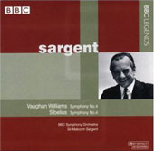 Vaughan Williams, Sibelius: Symphony no 4 / Sargent, BBC SO