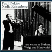 Viola Sonatas by Brahms, Weigl and Hindemith / Paul Doktor, viola; Nadia Reisenberg, piano