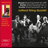 Mozart: String Quartet No. 20 'Hoffmeister'; Bartok: String Quartet No. 3; Dvorak: String Quartet No. 11 / Julliard String Quartet (rec. live Mozarteum July 1965)