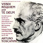 Verdi: Requiem, Te Deum / Toscanini, Nelli, Merriman, McGrath, Scott, NBC SO, et al