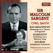 Rachmaninoff: Rhapsody on a Theme of Paganini; Erno Dohnányi (1877-1960): Variations on a Nursery Song; Dvorak: Symphonic Variations / Cyril Smith, piano; PO, Sir Malcolm Sargent