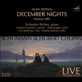 Music Festival: December Nights - Moscow, 1985. Schumann: Piano Trio, Op. 63; Fantasy Pieces, Op. 73; Chopin: Cello Sonata; Schubert: Violin Sonata et al. / Sviatoslav Richter, Piano; Kagan, Bashmet, Kamyshev, Gutman