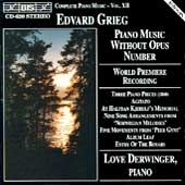 Grieg: Complete Piano Music Vol 12 / Love Derwinger