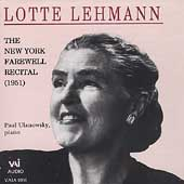 Lotte Lehmann - The New York Farewell Recital (1951)