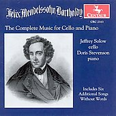 Mendelssohn: Works for Cello & Piano / Solow, Stevenson