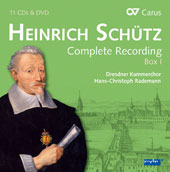 Heinrich Schütz (1585-1672): Complete Recordings, Box 1 / David Erler, Fauke Hess, Ulrike Hofbauer, Oliver Kaden, Irene Klein, Sebastian Knebel, Jan Kobow, Stefan Kunath, Matthias Lutze, Stefan Maass, & many more [11 CDs]