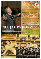 New Year's Concert 2016 - works by Zieher, Stolz, J. Strauss, Jr., E. Strauss; Waldteufel / Cello Ensemble Mozart; Clarinotts; Vienna PO, Jansons [DVD]