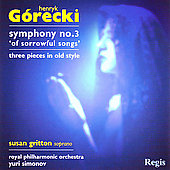 G&#243;recki: Symphony no 3, etc / Simonov, Royal PO