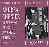 Giordano: Andrea Ch&#233;nier;  Puccini / Rigacci, Di Stefano