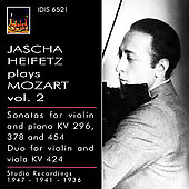 Heifetz Plays Mozart Vol 2 - Sonatas K 296, 378, 454, etc