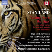 Andrew Staniland (b.1977): Talking Down the Tiger and other works for solo instruments & electronics / Ryan Scott, percussion; Rob MacDonald, guitar; Camille Watts, flute et al.